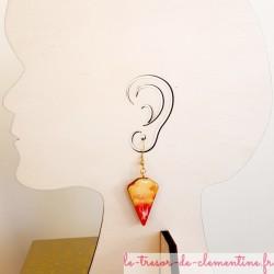 Boucle d'oreille artisanale orange à feu et pailleté triangle tronqué