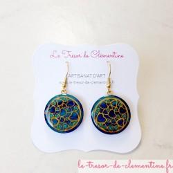 Boucle d'oreille pendante coeur turquoise et doré