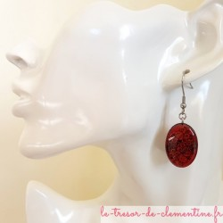 Boucle d'oreille fantaisie ovale spirale rose acier inoxydable