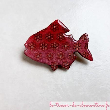 Broche artisanale poisson rose et fleurs