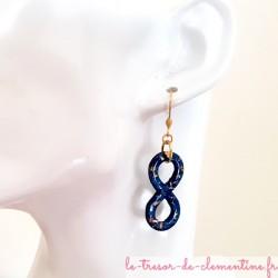 Boucle d'oreille femme infini ou 8 turquoise pailleté doré