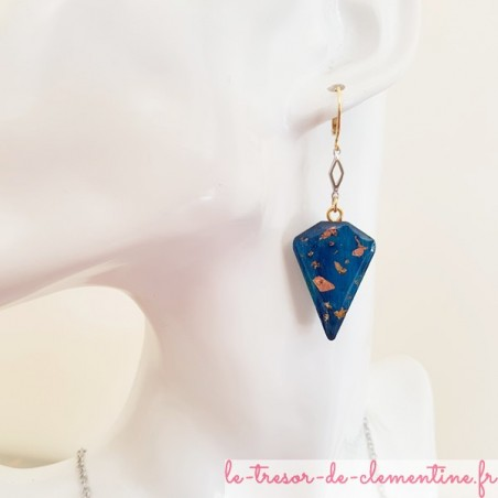 Boucle d'oreille dormeuse femme turquoise et pailleté or et argent triangle tronqué