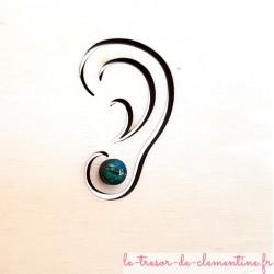 Petit bouton d'oreille, puce d'oreille turquoise à vert 8 mm
