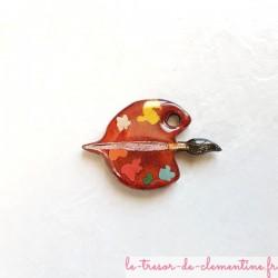 Petite broche palette pinceau rose, bijou original pour homme ou femme de création française