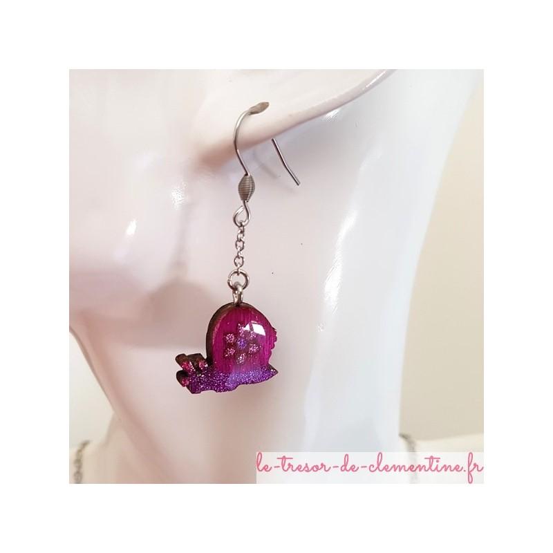 Boucles d'oreilles fantaisie escargot violet pailleté, bijou fantaisie de création artisanale française, acheter un bijou fantai
