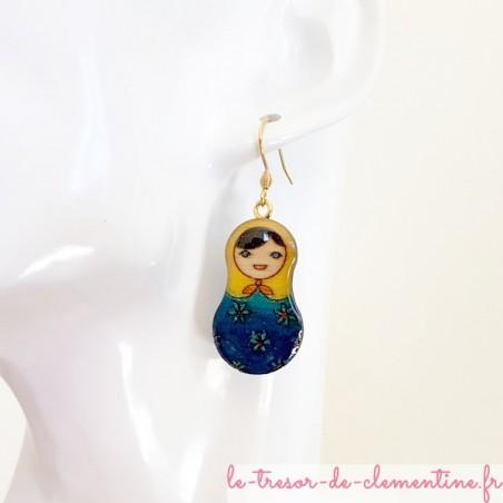 boucle d'oreille artisanale poupée russe bleu et jaune