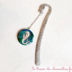 Marque page murène, dragon ambiance marine turquoise et argent