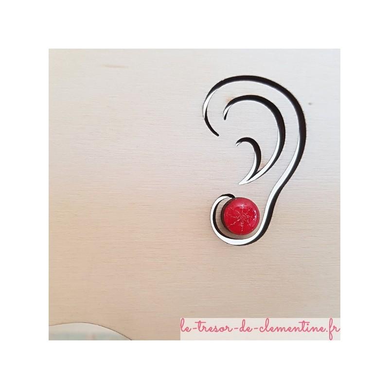 Petit bouton d'oreille, puce d'oreille rose fushia et pailleté argent