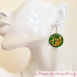 Boucles d'oreille femme vert pailleté or forme rond